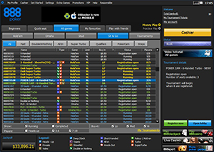 888 Poker Sit and Go Lobby