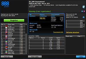 888 Poker Individual Tournament Info