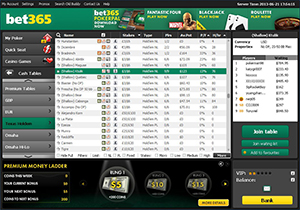Bet365 Poker Cash Game Lobby