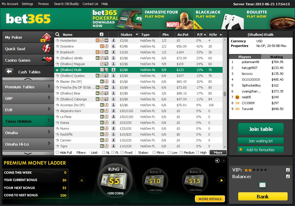poker bonus bet365