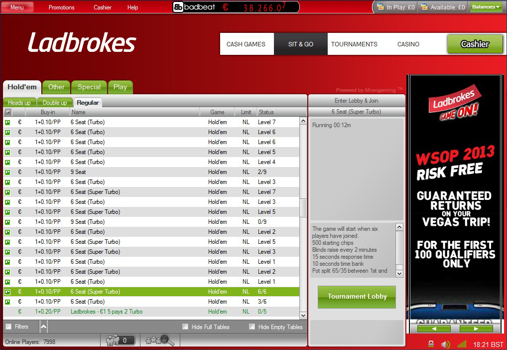 Ladbrokes Poker Sit and Go Lobby