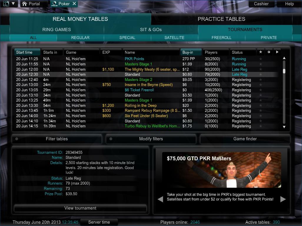 PKR Tournament Lobby