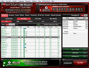 Pokerstars Cash Game Lobby