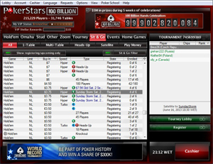 Pokerstars Sit and Go Lobby