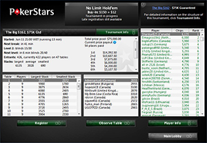 Pokerstars Individual Tournament Lobby