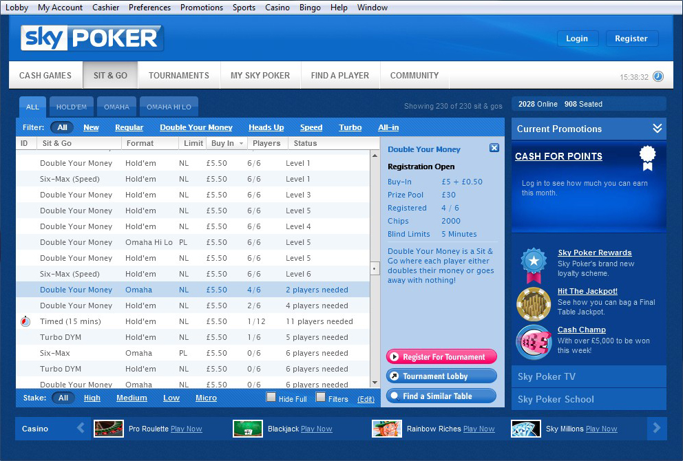 Sky Poker Sit and Go Lobby