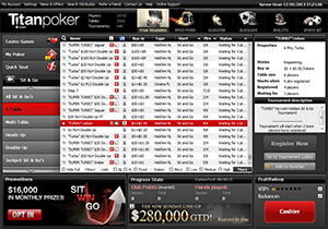 Titan Poker Sit and Go Lobby