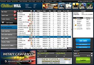 William Hill Poker Cash Game Lobby